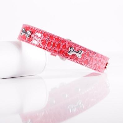 Pink Collar w Bone and Rhinestones