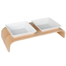 Double bowl wooden table - natural wood