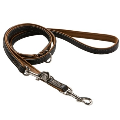 Leash Canadian soft Elk Black/Cognac