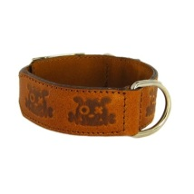 Leather collar bullseye Cognac
