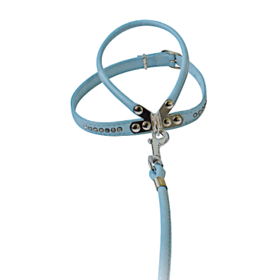 HARNESS W LEASH LIGHT BLUE W RHINESTONES