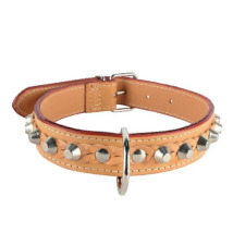 NATURAL LEATHER COLLAR WITH STUDS