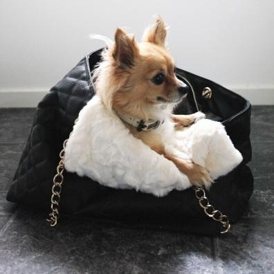 White fur blanket w black lining suitable for handbags