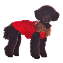 Luxury cashmere pullover w. faux fur collar Red