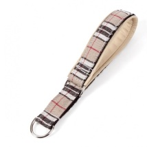 Half check Collar Beige Leather