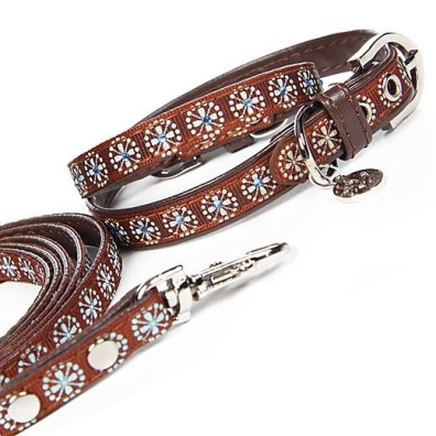 Collar/Leash Set Brown w Blue Crystals