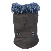 PUG - Brown coat w fur collar