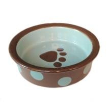 Bowl Brown w Green Dots Handpainted