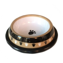 City Plastic Bowl - Black w Paws