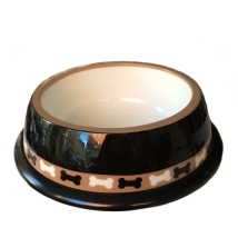 City Plastic Bowl - Black w Bones