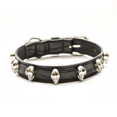 Cool Collar w Silver Skulls - Black