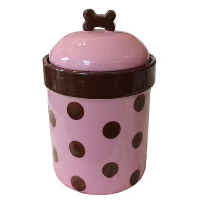 Food/Snack Porcelain Jar - Pink Dots