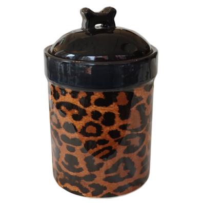 Food/Snack Porcelain Jar - Leopard