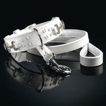 Collar Ascot - White Leather