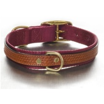 Leather and nylon Collar Burgundy