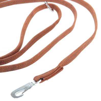 Cognac suede leash w BGB hook
