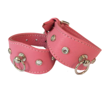 Leather Collar Pink w stones