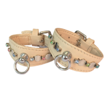 Leather Collar Beige w stones