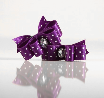 2 Bows Purple w.White dots