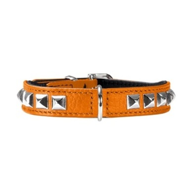 Necklace Nappa w soft studs - Orange