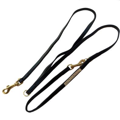 Soft Lambskin Leather Adjustable Leash w crystal - Black