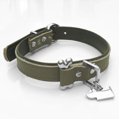 Aragon Leather collar w bone - Grey
