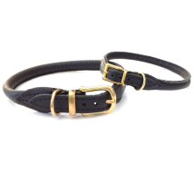 Round Leather Collar w Brass Buckle - Black