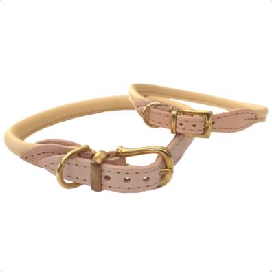 Round Leather Collar w Brass Buckle - Natur