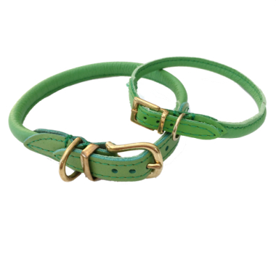 Round Leather Collar w Brass Buckle - Green