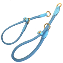 Half check adjust. Leather Collar Brass - Baby Blue