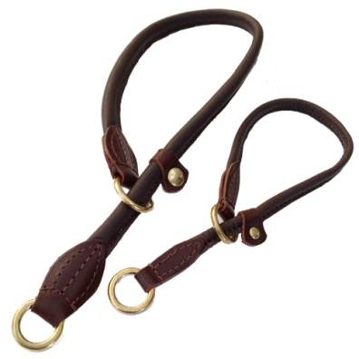 Half check adjust. Leather Collar Brass - Brown