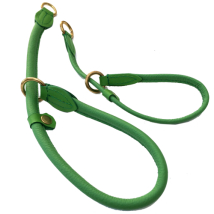 Half check adjust. Leather Collar Brass - Green