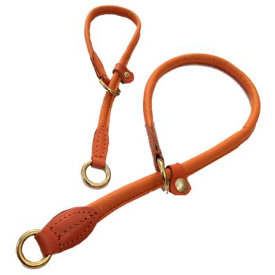 Half check adjust. Leather Collar Brass - Orange