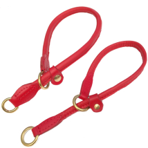 Half check adjust. Leather Collar Brass - Red