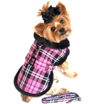 Elsa Light and Cozy Fleece Coat w leash - Pink Plaid