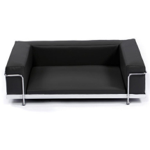 Modern Black Leather Bed Chrome Frame