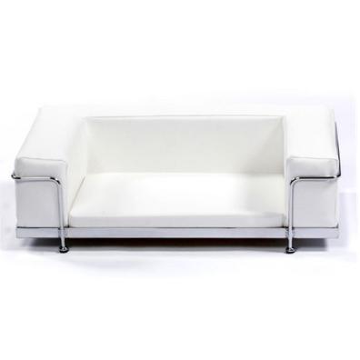 Modern White Leather Bed Chrome Frame