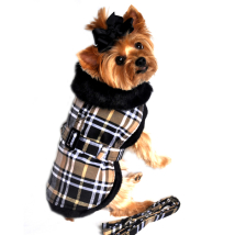 Elsa Light and Cozy Fleece Coat w leash - Beige Plaid