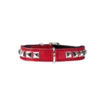 Necklace Nappa w soft studs - Red