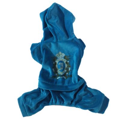 Blue cozy 4-legged Velvet Suit