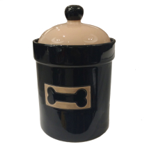 Food/ Snack Jar Porcelain Beige/ Black