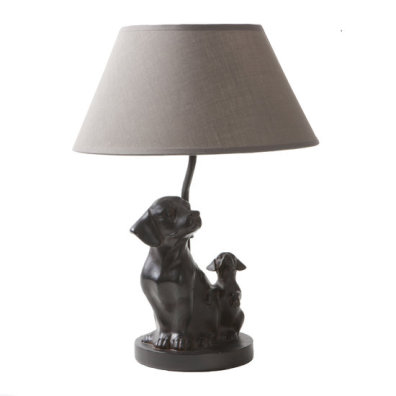 Lamp w Two Dogs Lampshade Taupe