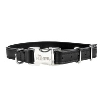 Adjust. Black Leather collar w. Snap Buckle