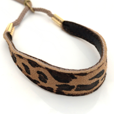 Show Leash Brown Leopard Leather