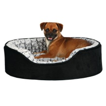 Memory Foam Effect Suede Soft Fur Bed - Black/Grey