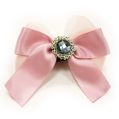 Bow to put on Collar/Harness - Pink Diamond