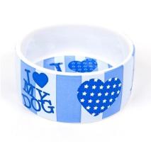 I Love my dog Porselain Bowl Blue