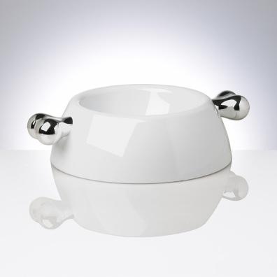 White Melamin dog bowl w Silver bones