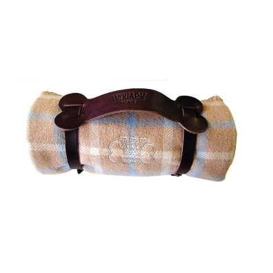 Plaid with black leather straps - Beige