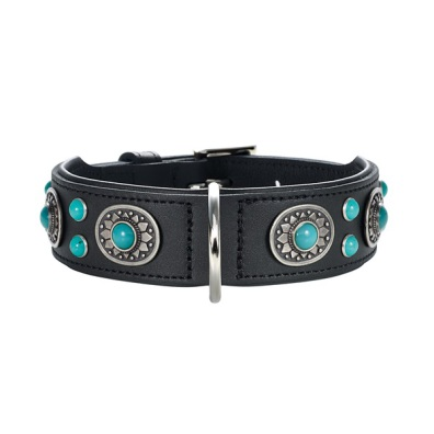 Black Leather Collar w Blue Stones
